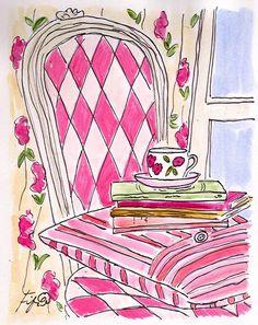Items similar to Hot Pink Chair. Paris Reflection on Etsy Image Paris, Original Artwork, Original Paintings, Decoupage, Everything Pink, Illustrations, Watercolor Illustration, Oeuvre D'art, Bunt