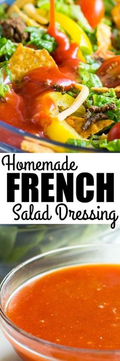 This homemade French Dressing recipe is THE BEST! It's WAY better than anything you can buy in a bottle, and it's made with simple, common pantry ingredients!