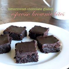 The Sweet Talker: Bittersweet Chocolate Glazed Espresso Brownie Bites