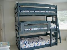 Triple bunk beds... best space saving beds for 3 kids in a room.