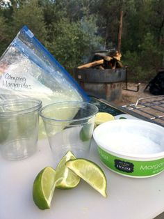 Make up a batch or two of these Camping Margaritas for delicious slushie on your next camping trip.