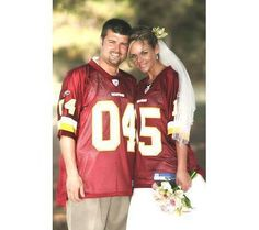 #Redskins jersey incorporated into wedding day photos.