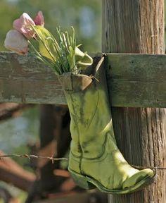 boot flower vase