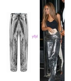 Beyoncé at The 2016 Balmain & Olivier Rousteing MET Gala After Party (May 2nd) wearing LOEWE Trousers Croc Embossed Silver ($2,850)