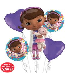 "this is a cute birthday theme for little ones, Doc Mcstuffins! Party City has it all from plates, to ballones and the extraordinary baloon of lammy giving Doc a ""cuddle"" adoriable!"