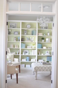 i want the office painted this green color or to at least have one wall this bookcase painting ideasbookcase decoratingdecorating - Decorating Bookshelves