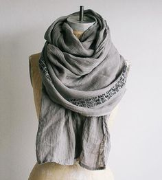 Grey Linen Printed Text Scarf by Artlab on Scoutmob Grey Scarf, Long Scarf, Knit Cowl, Cotton Scarf, Printed Cotton, Scarf Wrap, Autumn Fashion, Men's Fashion, What To Wear