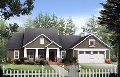 Elevation of Cottage Country Craftsman House Plan 59170 | I like this layout. We could remove unnecessary bedrooms.