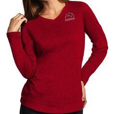 Women's San Francisco 49ers Majestic Scarlet Lead Play Long Sleeve Henley T-Shirt