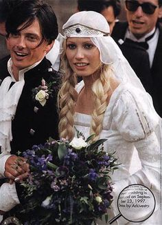 Wedding of Scottish model Kirsty Hume and rocker-actor Donovan Leitch, September 23, 1997. Medieval garb by Arkivestry.  They have one daughter, born in 2004.
