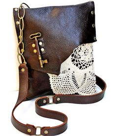 Brown Leather Boho Messenger Bag with Crochet Doily and Antique Key - Medium One Of A Kind - MADE TO ORDER. $220.00, via Etsy.