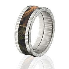 8mm RealTree Xtra Camo Rings, XTRA Camo Bands, Damascus Steel Camo