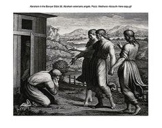 Oliver Medhurst presents Abraham in the Bowyer Bible 38 Abraham entertains angels Pozzi on Flickr. A print from the Bowyer Bible, a grangerised copy of Macklin's Bible in Bolton Museum and Archives, England.