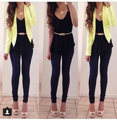 Work outfit - lime green blazer, black layered tank, gold belt to cinch waist area