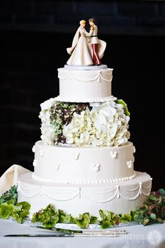 Disney Wedding Cake-cute topper!