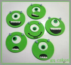 mike wazowski cupcake topper - gq cakes Monsters Inc Cupcakes, Monster Cupcakes, Fondant, Monsters Inc University, Character Cupcakes, Kid Cupcakes, 1st Birthday Parties, Birthday Ideas, Mike Wazowski