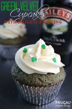 Green Velvet Cupcakes with Baileys Cream Cheese Frosting - Great St Patty's Day Recipe. Cupcake Recipe. Saint Patrick's Day Recipes on Frugal Coupon Living.