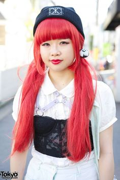 Red Twintails & Corset Top