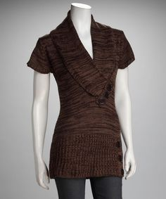 Take a look at this Brown Short-Sleeve Sweater by Covetable Closet: Women's Apparel on #zulily today!