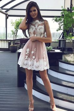 Mini Short Homecoming Dresses #homecomingdresses Lace short Dress #lacedress Tulle Short Homecoming Dresses #promdress2018 Fashion Prom Dresses #promdress