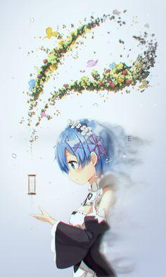 Rem from Anime Re-Zero by Kara Hajimeru Isekai-Seikatsu Moe Anime, Kawaii Anime Girl, Anime Chibi, Anime Manga, Anime Girls, Re Zero Wallpaper, Wallpaper Backgrounds, Iphone Wallpaper, Rem Re Zero