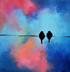Original Abstract Painting Birds on a Wire by AbstractArtM on Etsy, $58.00