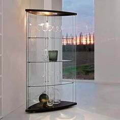 Gracia Display Cabinet With Doors And Back In Curved Clear Gl Black Matt Lacquered Structure