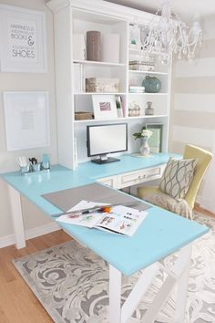 Love this workspace - blue L-shaped desk/shelves - bright and airy!
