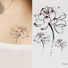 Lotus flower tattoo stickers ink lotus elegant tattoo sticker aesthetic single