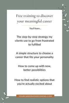 If you're feeling stagnant in your career, this free masterclass is going to help you out because you'll learn how to find the right career for you. A career that is a natural extension of who you are, and one that aligns with your soul. - career ideas - how to change your life - how to chase your dreams Finding The Right Career, Find A Career, Choosing A Career, Career Change, Find A Job, Career Ideas, Career Planning, Finding Purpose, List Of Jobs