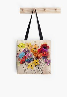 """Colorful Flowers"" modern abstract flowers painting by Osnat Tzadok Colorful Flowers, Abstract Flowers, Felt Flowers, Painted Bags, Hand Painted, Embroidery Bags, Coin Bag, Fabric Painting, Canvas Tote Bags"