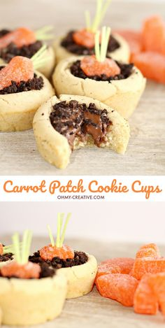 Carrot Patch Cookie Cups Easter Dessert | OHMY-CREATIVE.COM | Carrot Cookies | Easter Treat | Carrot Patch | Garden Cookies | Dirt Cookies | Dirt Dessert | Baby Shower Dessert | Peter Rabbit | #Easterdessert #Easterrecipe #carrotcookie