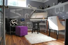 25 Colorful Rooms We Love From Rate My Space : grey room with high shelf around room