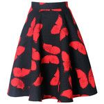 Color Block Butterfly Printed Flared Midi Skirt