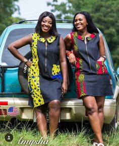 Ankara and Jeans Material : Short Gown For You . Ankara and Jeans Material : Short Gown For You African Wear Dresses, African Fashion Ankara, Latest African Fashion Dresses, African Print Fashion, Africa Fashion, African Attire, African Prints, Modern African Dresses, African Women Fashion
