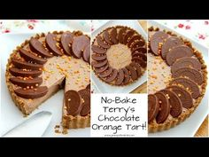 A DELICIOUS No-Bake Terry's Chocolate Orange Tart – a No-Bake Crust, and a No-Bake filling… heaven! Obviously I am obsessed with Terry's Chocolate Orange. Chocolate And Orange Tart, Chocolate Orange Cheesecake, Chocolate Delight, Christmas Pudding, Christmas Desserts, Christmas Baking, Tart Recipes, Fudge Recipes, Sweet Recipes