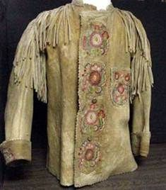 An embroidered fringed buck skin jacket that shows clearly how western wear began to evolve