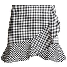 Wrapover Skirt $24.99 ($25) ❤ liked on Polyvore featuring skirts, frilly skirt, checkerboard skirt, zipper skirt, black and white skirt and flounce skirt