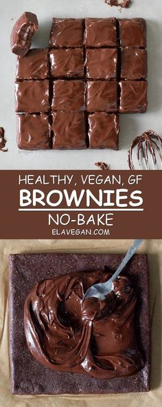 Recipes Snacks Vegan These healthy no-bake brownies contain just 6 ingredients. The recipe is vegan, gluten free, refined sugar-free, fudgy, chocolatey and easy to make. Make this healthy vegan dessert and share it with your loved ones! Vegan Gluten Free Desserts, Sugar Free Desserts, Vegan Sweets, Healthy Sweets, Healthy Dessert Recipes, Health Desserts, No Bake Desserts, Easy Desserts, Baking Recipes