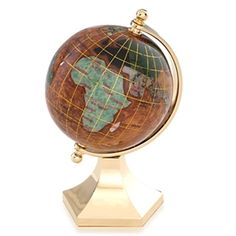 This Copper Amber 3-inch gemstone globe with contempo gold stand is a perfect accent piece to any home or office. Included is a gift box, making it just as easy to gift as it is to keep for yourself. #floorstandingglobes #rotatingglobes #papwerweightglobes #Kalifanobookendglobes #gemstoneglobes #worldglobes