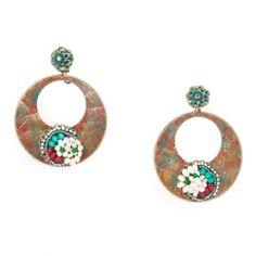 Pendientes de flamenca de flamenca. Argollas pintadas a mano en tonos verdes hoja y bourdeos con adornos de perlas de río y ágatas.