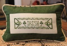 Irish Counted Cross Stitch pillow with piping edge. Done!!!!