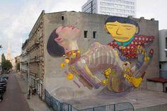 ARYZ & OS GEMEOS – New Mural in Lodz, Poland'2012