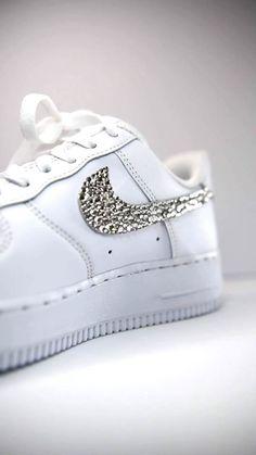 Crystal Rhinestone, Swarovski Crystals, Nike Shoes Air Force, Nike Air Force Ones, Crystal Place, Custom Af1, Custom Air Force 1, Nike Swoosh Logo, Handmade Shop
