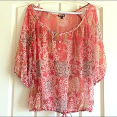 Boho chic Lily White top. Small. Coral and cream colors blouse with button detail on the busy. Excellent condition. Size small. Reposhing - a great top! Lily White Tops Blouses