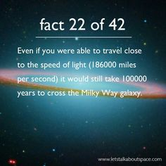 Space Fact 22 speed of light Milky Way solar system universe