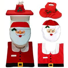 XyindiaTM Christmas Interior 3pcset Christmas Decoration Xmas Happy Santa Toilet Seat Cover and Rug Bathroom New Year home decorations >>> Find out more about the great product at the image link.