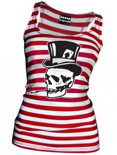 "Women's ""Old Skull Top Hat"" Tank by Aesop Originals (Red/White)"