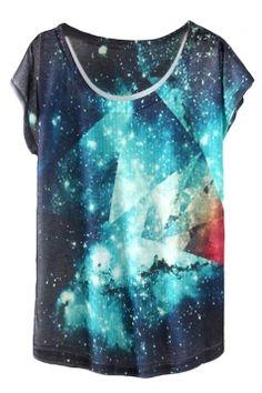 #White #Pretty Womens Crew Neck #Galaxy Printed Short Sleeve T-shirt
