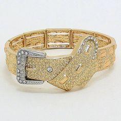 Fashion Bracelet Belt buckle stretch bracelet - gold with clear accents. Reah Collection Jewelry Bracelets